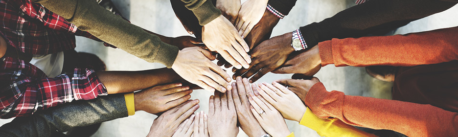 Group of hands showing support
